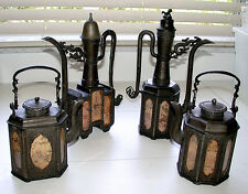 Stunning Antique 18th Century Matching Metal Tea/Coffee Pots With Deity Panels