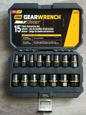 Gearwrench 15pc Bolt Biter Impact Extractor Socket Set for SAE & Metric #84783