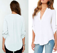 Ladies White V Neck Polyester Top Long Sleeve Loose Casual T Shirt Blouse 8-16