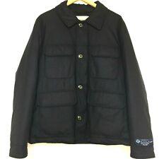 Woolrich Loro Piana Stag Jacket Sz M 100% Virgin Wool Micro Checked Blue Black