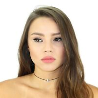 Kristin Perry Leather and Swarovski Crystal Choker Necklace