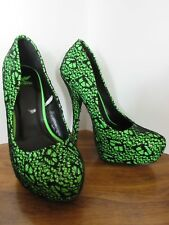 """BARELY USED bright neon green & black SHIEKH shoes 6"""" heel size 6"""