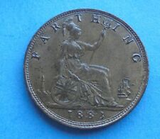 More details for 1883 victoria, farthing, scarce year, nice condition.
