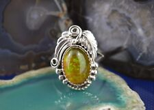 Magnificent Navajo Sterling Silver Ring W/ Amber Stone & Silver Leaves Size 9.5