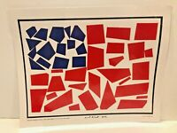 """Michael Albert """"Flag  (Coca-Cola Red)"""" Collage Poster Signed 2012- 16 x 20.5"""