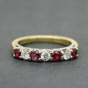 18ct Yellow Gold Ruby & Diamond Eternity Ring Size I, US 4 1/2