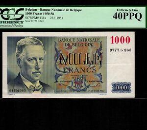 Belgium 1000 Francs 1951 P-131a * PCGS XF 40 PPQ * King Albert *
