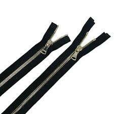 "Zip Up Zipper Glossy 5MM or 8MM 4"" to 36"" Black/Brass Two-Way Separating Open"