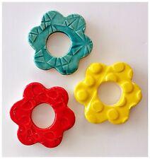 3 Handmade Mosaic Flower Tiles