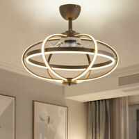 Modern Ceiling Fan with Remote Control LED Acrylic Coffee Finished Pendant Lamp