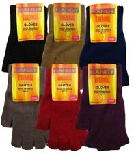 Ladies Thermal Knitted Fingerless Gloves Assorted Colours