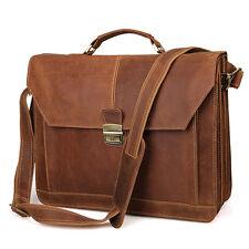 Men's Classic Briefcase Laptop Handbag Messenger Bag With Crazy Horse Leather
