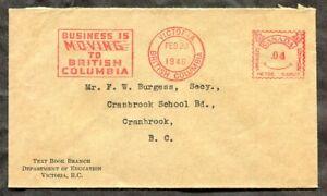 p1396 - VICTORIA BC 1946 Slogan Meter Cancel on Cover to Cranbrook ✉