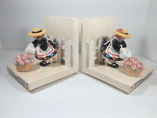 """Mary Engelbreit Rare Vintage 1994 Ceramic Bookends """"Bloom Where You're Planted"""""""