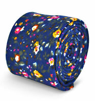 Frederick Thomas mens cotton/linen tie in blue with floral pattern FT3107