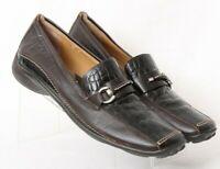 Sesto Meucci Brown Square Toe Croc Print Slip On Loafers Italy Women's US 12 N
