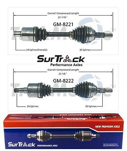 For Pontiac G6 Chevy Malibu 06-09 FWD Pair Set of Front CV Axle Shafts SurTrack