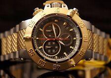 Invicta Mens Subaqua Swiss Gunmetal 18K Gold-Plated Two Tone SS Bracelet Watch
