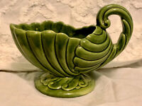 Vintage Haeger Green Pottery Shell Footed Pedestal Planter With Handle
