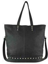 New JJ WINTERS Black Leather Shoulder Tote Bag