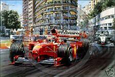 Signed Michael Schumacher Triumphant Ferrari Monaco GP by Nicholas Watts Print