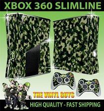 Xbox 360 Slim Vert Armée Combat Camouflage Autocollant peau & 2 pad skins