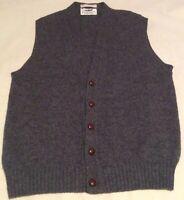 Vintage Weymouth Hunt Men's LARGE 100% Shetland Wool Button Front Sweater Vest