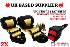 2x Universal Yellow 3 Point Seat Belts 3.5m Length & 30cm Wire Buckles E4 VatInc