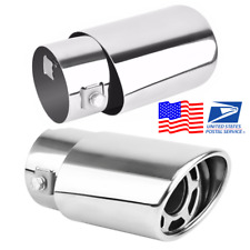 Universal Silver Stainless steel Car Exhaust Pipe Oval Tail Muffler Tip US Ship
