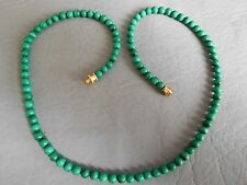 COLLIER ANCIEN PERLE RONDE 4 mm PIERRE NATURELLE MALACHITE VERT STONE NECKLACE
