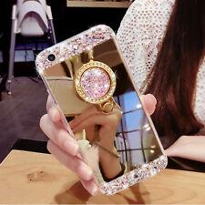 Bling Diamond Crystal Mirror Case Ring Holder Kickstand Cover For Various Mobile