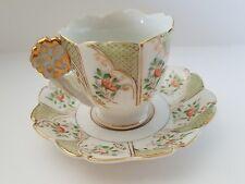 Vintage Ucagco Japanese Demitasse Tea Cup Saucer Set Flower Handle Porcelain
