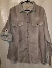 Decree Womens NWT Shirt Roll Tab Long Sleeve Gray Stripes