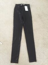 NWT AIKO Made in USA Shiny Black Slim Skinny Leggings Pants size XS $185
