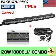25inch 120W Curved Single Row LED Light Bar for Jeep GMC ATV Truck w/ Wiring Kit