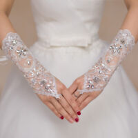 Women Lace Fingerless Crystal Wedding Bridal Gloves Creamy-white Beaded Elastic