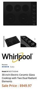 """BRAND NEW Whirlpool WCE77US0HB 30"""" Black Electric Cooktop"""
