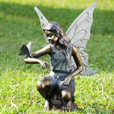 """GRACEFUL FAIRY & BUTTERFLY GARDEN STATUE * Verdi Fairies Angel 25"""" Sculpture"""