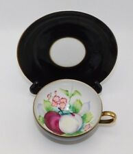 Ucagco China Handpainted Black with Gold and Fruit Tea Cup and Saucer, Japan