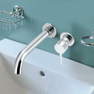 Concealed Wall Mount Bathroom Sink Faucet Mixer Wash Basin Hot Cold Water Tap