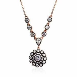 """$90 20"""" Art Deco Necklace Rose Gold Handcrafted Jewelry 925 Sterling Silver"""