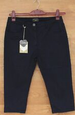 Ladies Womens 3/4 Stretch Elasticated Waist Navy Capri Cropped Trousers 10-22