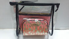 Victoria's Secret Leopard Gold & Pink Cosmetic Bag Trio Set