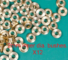 12 turned brass OO/HO 2mm loco axle bushes. 4.8mm wide and 2mm inner diameter.