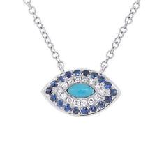 14K Oro Blanco Azul Turquesa Diamante Zafiro Marquesita Ojo Collar con Colgante