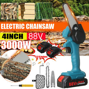 88V Electric Cordless 4inch Chain Saw Wood Mini Cutter Woodworking