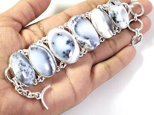 Natural Dendrite Agate Gemstone Handmade Fashion Jewelry Silver Bracelet B-242