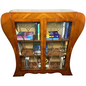 Fine Original Vintage Art Deco Walnut Curved Bookcase Display Storage Cabinet