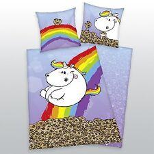 Bettwäsche Pummeleinhorn glatt Regenbogen Kekse 135 x 200 cm Geschenk NEU WOW