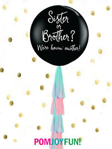 Sister or Brother? Gender Reveal Balloon Sibling Gender Reveal Balloon in Black